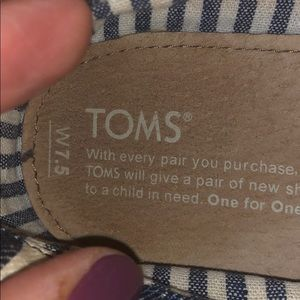 Toms Shoes - Toms Blue and Off-White Striped Flats, 7 1/2